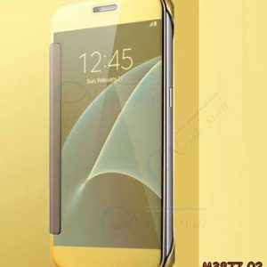 M3877-02 เคสฝาพับ Samsung Galaxy A8-2018 กระจกเงา สีทอง
