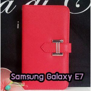 M1336-01 เคสหนัง Samsung Galaxy E7 สีแดง