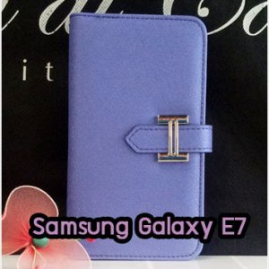 M1336-02 เคสหนังฝาพับ Samsung Galaxy E7 สีม่วง