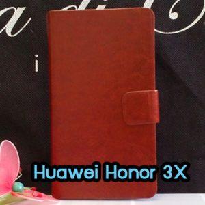 M1047-02 เคสฝาพับ Huawei Honor 3X สีน้ำตาล