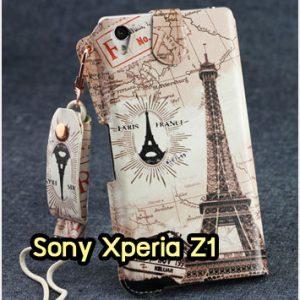 M963-08 ซองหนัง Sony Xperia Z1 ลายหอไอเฟล I