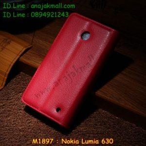 M1897-02 เคสฝาพับ Nokia Lumia 630 สีแดง