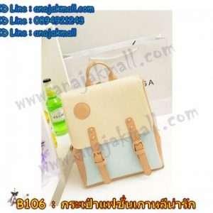 B106-04 กระเป๋าเป้หนังแฟชั่น สีฟ้า