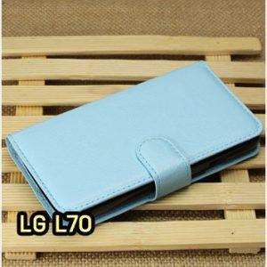 M1414-02 เคสฝาพับ LG L70 สีฟ้า