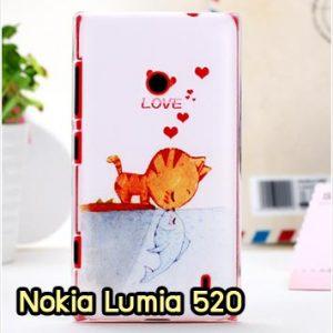 M912-02 เคสแข็ง Nokia Lumia 520 ลาย Cat & Fish