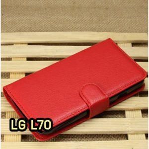 M1414-06 เคสฝาพับ LG L70 สีแดง