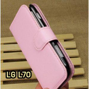 M1414-09 เคสฝาพับ LG L70 สีชมพู