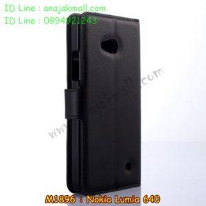 M1896-01 เคสหนังฝาพับ Nokia Lumia 640 สีดำ