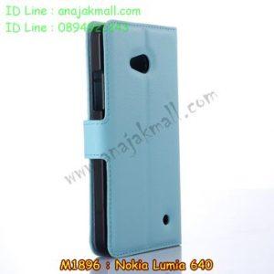 M1896-04 เคสหนังฝาพับ Nokia Lumia 640 สีฟ้า