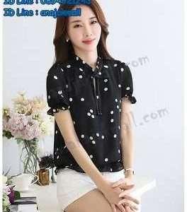 FS42-02 เสื้อชีฟองแฟชั่น แขนตุ๊กตา สีดำ