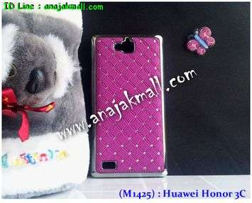 M1425-03 เคสแข็งประดับ Huawei Honor 3C สีม่วง