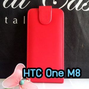 M1219-01 เคสหนังเปิดขึ้นลง HTC One M8 สีแดง