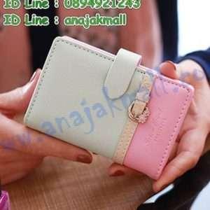 WL35-04 กระเป๋าใส่บัตร ดีไซน์เข็มขัด สีเทา-ชมพู