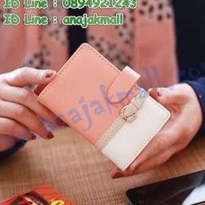 WL35-05 กระเป๋าใส่บัตร ดีไซน์เข็มขัด สีส้ม-ขาว