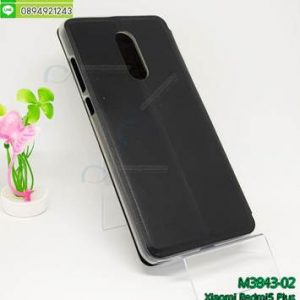 M3843-02 เคสฝาพับโชว์เบอร์ Xiaomi Redmi 5 Plus สีดำ