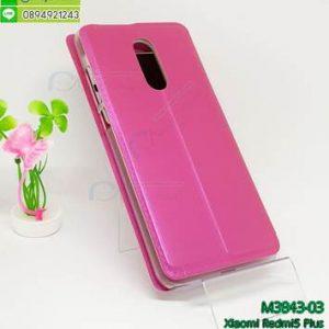 M3843-03 เคสฝาพับโชว์เบอร์ Xiaomi Redmi 5 Plus สีชมพู