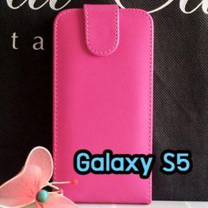 M1220-04 เคสหนังเปิดขึ้นลง Samsung Galaxy S5 สีชมพู