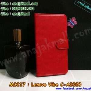 M3217-01 เคสฝาพับไดอารี่ True Lenovo 4G Vibe C สีแดงเข้ม