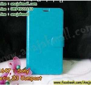 M1647-02 เคสหนังฝาพับ Sony Xperia Z3 Compact สีฟ้า