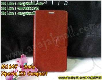 M1647-04 เคสหนังฝาพับ Sony Xperia Z3 Compact สีน้ำตาล