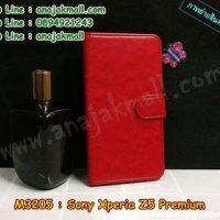 M3205-01 เคสฝาพับไดอารี่ Sony Xperia Z5 สีแดงเข้ม