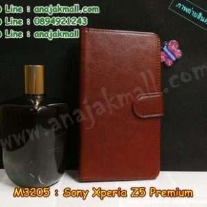 M3205-03 เคสฝาพับไดอารี่ Sony Xperia Z5 Premium สีน้ำตาล