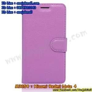 M3254-03 เคสหนังฝาพับ Xiaomi Redmi Note 4 สีม่วง