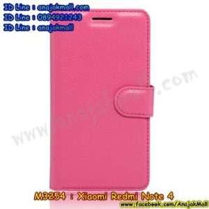 M3254-05 เคสหนังฝาพับ Xiaomi Redmi Note 4 สีชมพูกุหลาบ