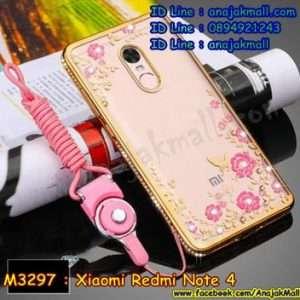 M3301-01 เคสยางขอบเพชร Xiaomi Redmi Note 4 ลายดอกไม้ สีทอง