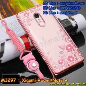 M3301-02 เคสยางขอบเพชร Xiaomi Redmi Note 4 ลายดอกไม้ สีชมพู
