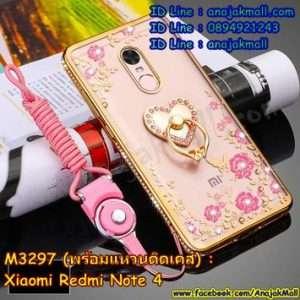 M3301-03 เคสยางขอบเพชร Xiaomi Redmi Note 4 ลายดอกไม้ สีทอง พร้อมแหวนติดเคส