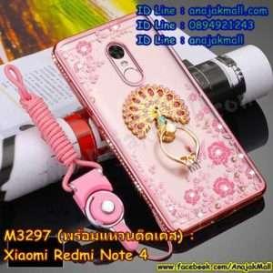 M3301-04 เคสยางขอบเพชร Xiaomi Redmi Note 4 ลายดอกไม้ สีชมพู พร้อมแหวนติดเคส