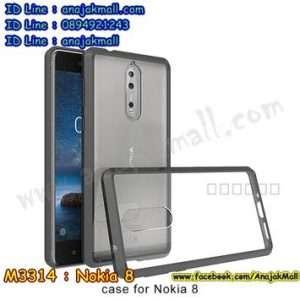 M3314-01 เคสกันกระแทกหลังอะคริลิคใส Nokia 8 ขอบสีดำ