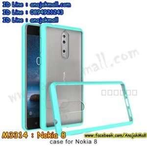 M3314-02 เคสกันกระแทกหลังอะคริลิคใส Nokia 8 ขอบสีเขียว