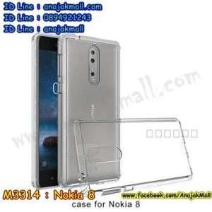 M3314-03 เคสกันกระแทกหลังอะคริลิคใส Nokia 8 ขอบสีขาว