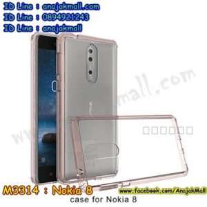 M3314-04 เคสกันกระแทกหลังอะคริลิคใส Nokia 8 ขอบสีชมพู