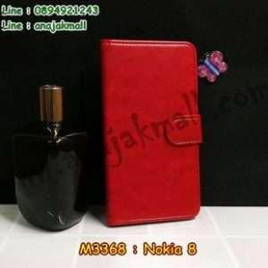 M3368-01 เคสฝาพับไดอารี่ Nokia 8 สีแดงเข้ม