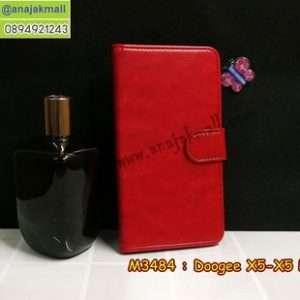 M3484-01 เคสฝาพับไดอารี่ Doogee X5/X5 Pro สีแดงเข้ม