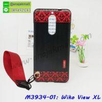 M3934-01 เคสยาง Wiko View XL ลาย Red Luxury พร้อมสายคล้องมือ