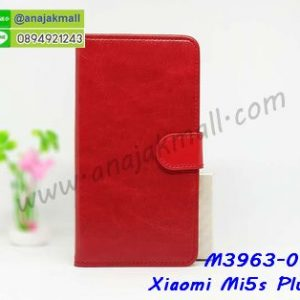 M3963-01 เคสฝาพับไดอารี่ Xiaomi Mi5s Plus สีแดงเข้ม