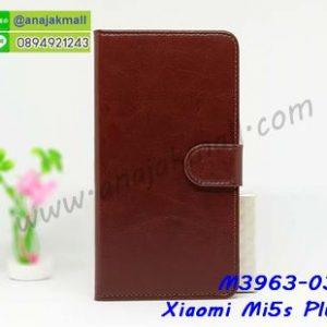M3963-03 เคสฝาพับไดอารี่ Xiaomi Mi5s Plus สีน้ำตาล