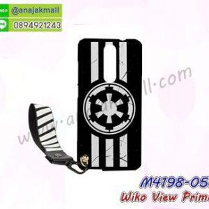 M4198-05 เคสยาง Wiko View Prime ลาย Black 02 พร้อมสายคล้องมือ