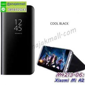 M4213-06 เคสฝาพับ Xiaomi Mi A2 เงากระจก สีดำ