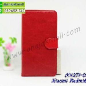 M4271-01 เคสฝาพับไดอารี่ Xiaomi Redmi6a สีแดงเข้ม