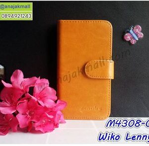 M4308-01 เคสฝาพับ Wiko Lenny5 สีน้ำตาลส้ม