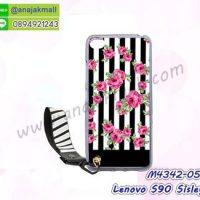 M4342-05 เคสยาง Lenovo S90 Sisley ลาย Flower V01 พร้อมสายคล้องมือ