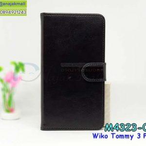M4323-02 เคสฝาพับไดอารี่ Wiko Tommy3 Plus สีดำ