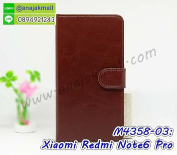 M4358-03 เคสฝาพับไดอารี่ Xiaomi Redmi Note6 Pro สีน้ำตาล