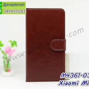M4361-03 เคสฝาพับไดอารี่ Xiaomi Mi8 สีน้ำตาล