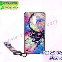M4325-30 เคสยาง Nokia6 ลาย Wool Calor X03 พร้อมสายคล้องมือ